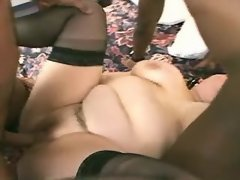 Honey obese mom in threesome w guys